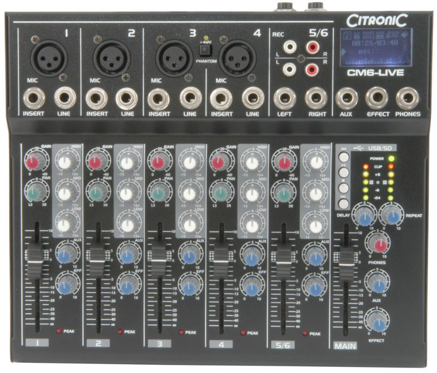 Citronic CM6-Live Compact Mixer 6ch+USB 170.801UK