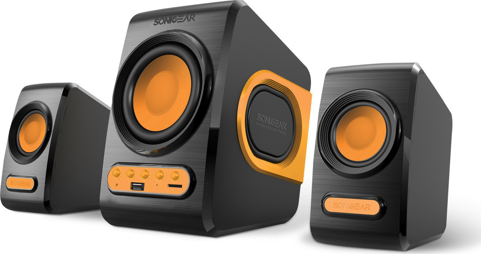 Sonicgear QuatroV 2.1 USB PC Speakers 10W FM/SD Orange