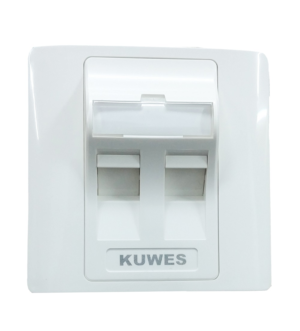 Kuwes Outlet Double Faceplate UK 86x86 45 Degree