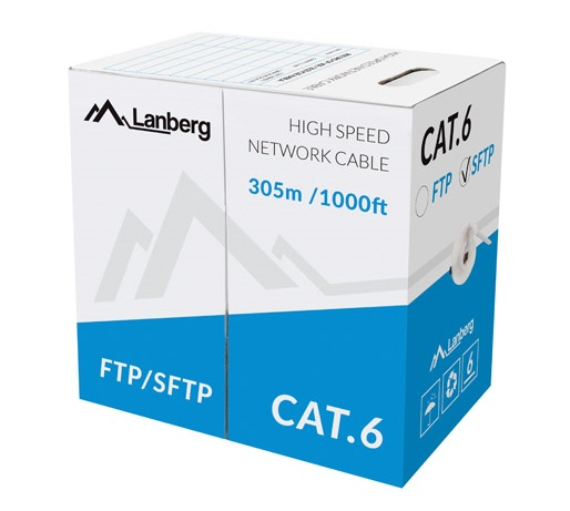 Lanberg LCS6-10CU CAT6 SFTP CU Cable 305m Grey