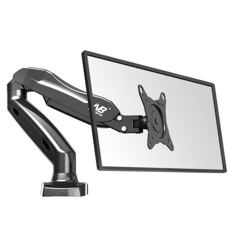 NBMounts F80 Gas Strut Desk Monitor Mount Single Arm Black