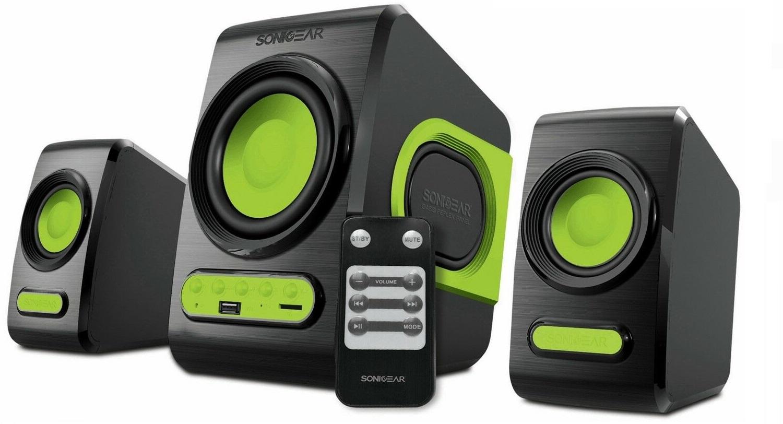 Sonicgear QuatroV 2.1 USB PC Speakers FM/SD 10W Green