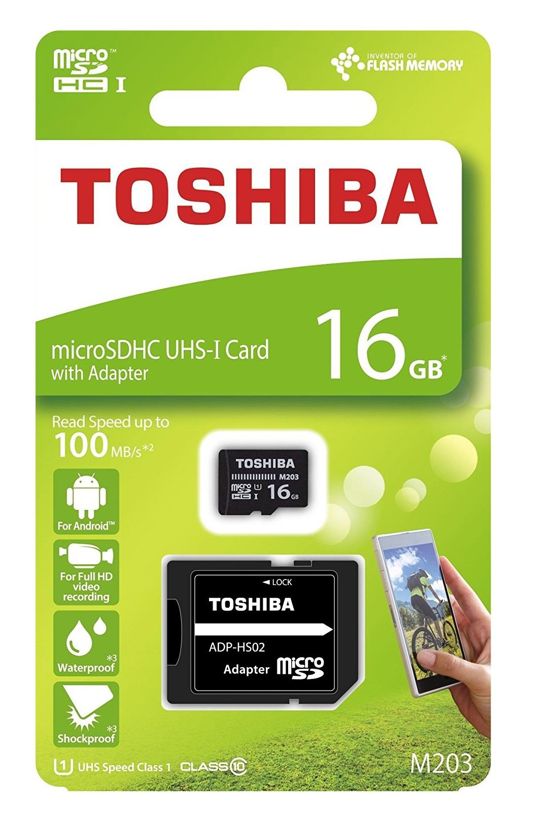 Toshiba M203 16GB Micro SD card w/ adapter UHS1 CLASS10