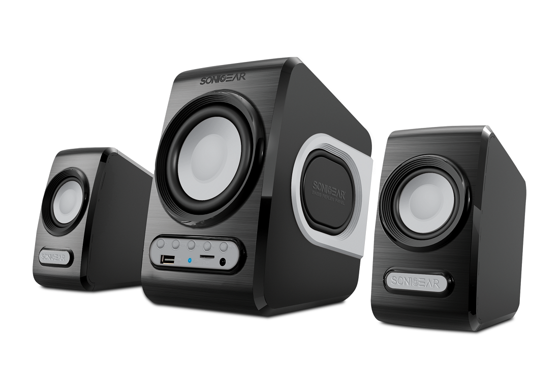 Sonicgear QuatroV 2.1 USB Powered PC Speakers USB/SD/FM 10W Grey