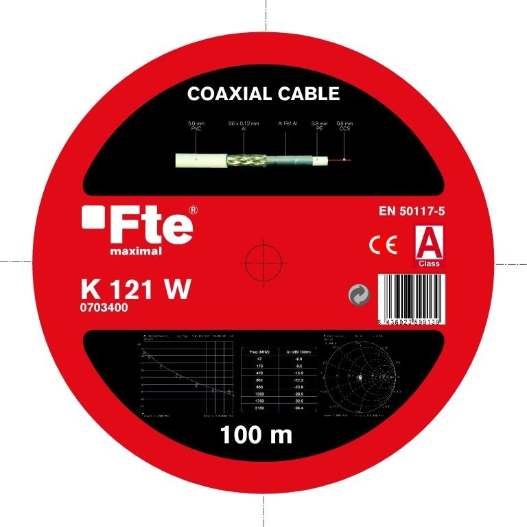 FTE K121W Coaxial Cable 5.0mm 100m