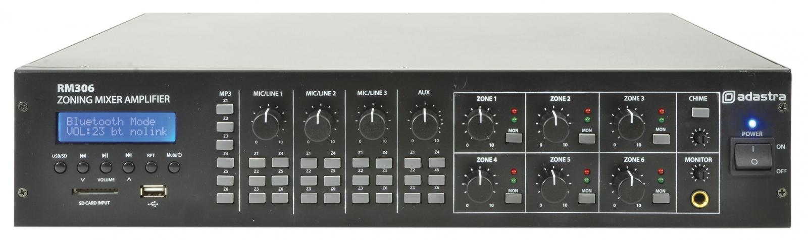 Adastra RM306 100V Audio Matrix Amp 6x30W FM/USB/BT 953.161UK