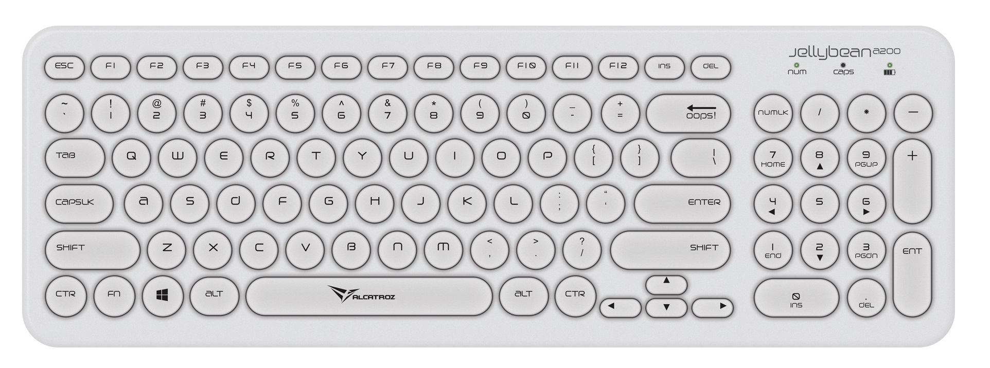 Alcatroz Jellybean A200 Wireless Keyboard White