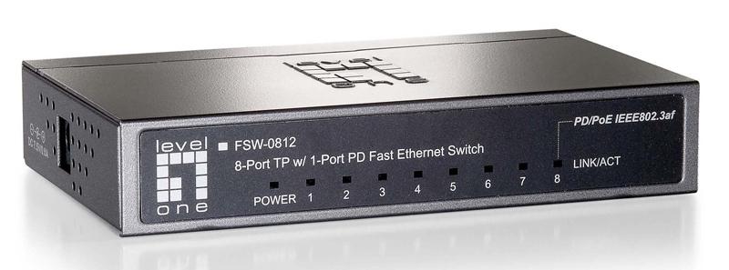 Level1 FSW-0812 7FE + 1 FE PoE PD Switch