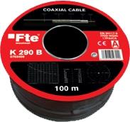 FTE K290B Coaxial Cable Black PE RG6 100m