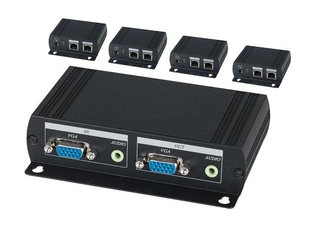 Shetech VE05AL VGA Splitter 1x5 over CAT5 incl 4 receivers